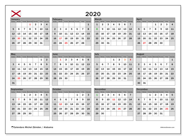 2020 Calendar, with the holidays of Alabama. Free printable calendar with public holidays.
