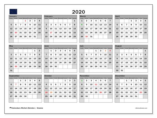 2020 Calendar, with the holidays of Alaska. Holidays calendar to print free.
