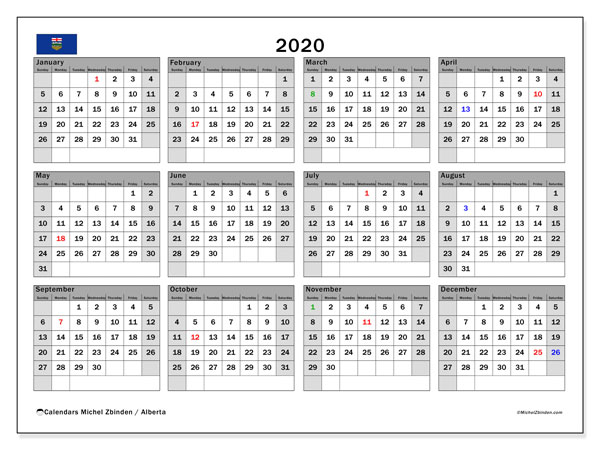 "Printable ""Alberta"" calendar with public holidays. Annual 2020 calendar and free printable bullet journal"