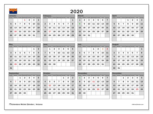2020 Calendar, with the holidays of Arizona. Free printable calendar with public holidays.