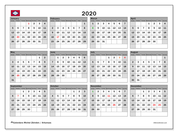 2020 Calendar, with the holidays of Arkansas. Free printable calendar with public holidays.