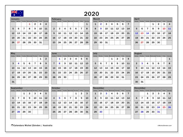 Calendar 2020 Australia 2020 Calendar, Australia   Michel Zbinden EN