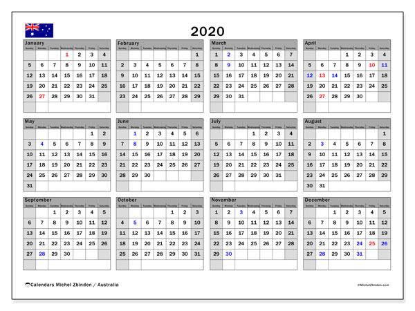 2020 Calendar, with the holidays of Australia. Holidays calendar to print free.