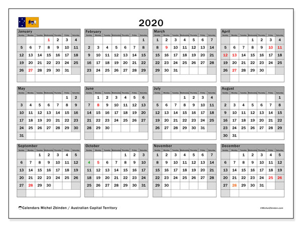 2020 Calendar, with the holidays of Australian Capital Territory. Free printable calendar with public holidays.