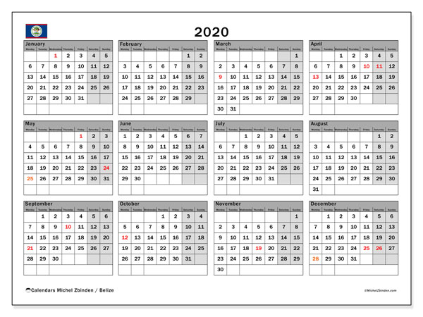 2020 Calendar, with the holidays of Belize. Free printable calendar with public holidays.