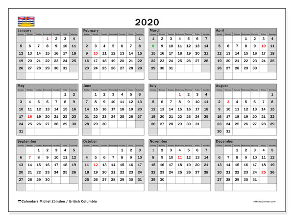 Annual Calendar 2020 - British Columbia. Public Holidays. Annual Calendar and free timetable to print.