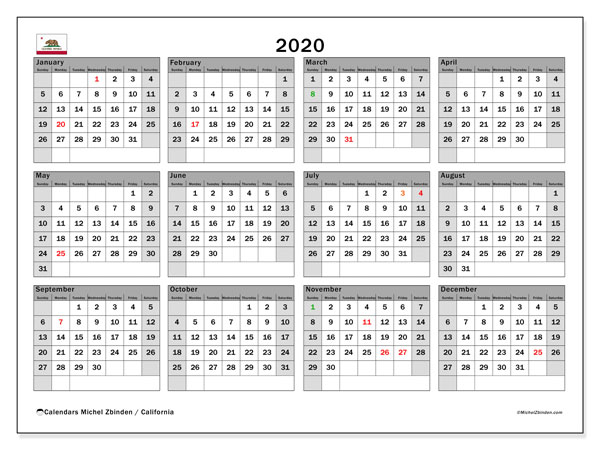 2020 Calendar, with the holidays of California. Holidays calendar to print free.