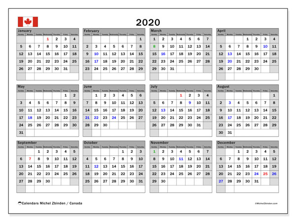2020 Calendar, with the holidays of Canada. Free printable calendar with public holidays.