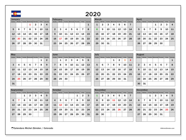 2020 Calendar, with the holidays of Colorado. Holidays calendar to print free.