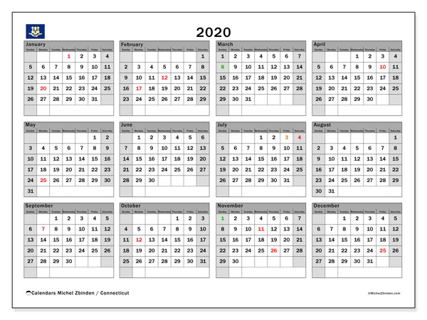 Annual Calendar 2020 - Connecticut. Public Holidays. Annual Calendar and free agenda to print.