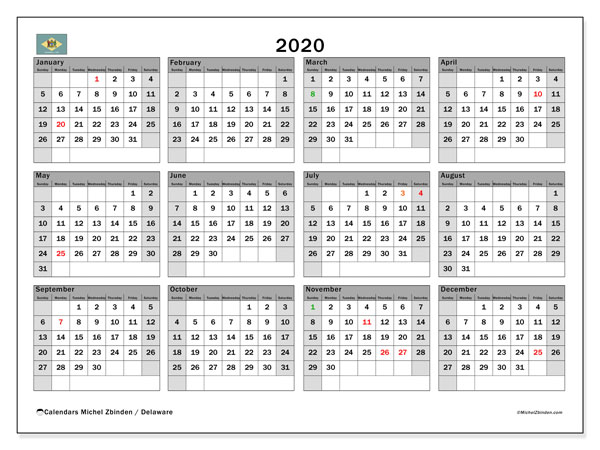 2020 Calendar, with the holidays of Delaware. Free printable calendar with public holidays.