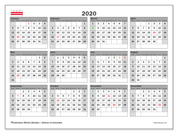 2020 Calendar, with the District of Columbia holidays. Holidays calendar to print free.