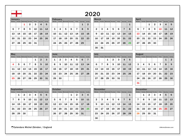 2020 Calendar, with the holidays of England. Holidays calendar to print free.