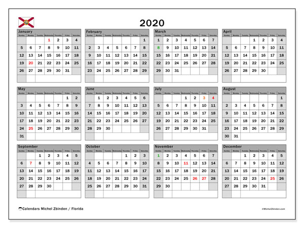 2020 Calendar, with the holidays of Florida. Free printable calendar with public holidays.
