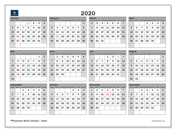 Annual Calendar 2020 - Idaho. Public Holidays. Annual Calendar and free printable timetable.