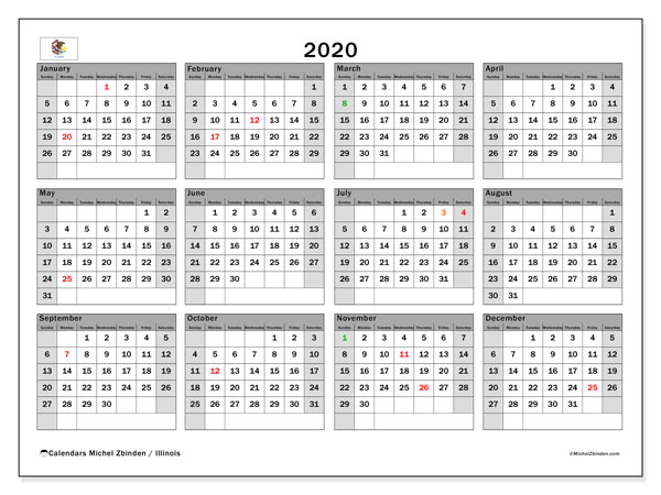 2020 Calendar, with the holidays of Illinois. Holidays calendar to print free.
