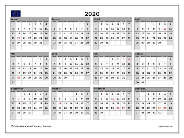 Annual Calendar 2020 - Indiana. Public Holidays. Annual Calendar and timetable to print free.