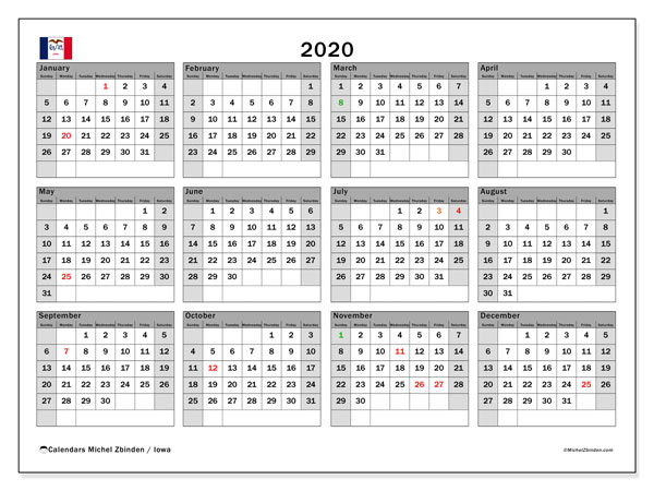 2020 Calendar, with the holidays of Iowa. Holidays calendar to print free.