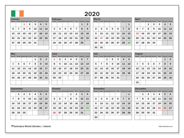 2020 Calendar, with the holidays of Ireland. Holidays calendar to print free.