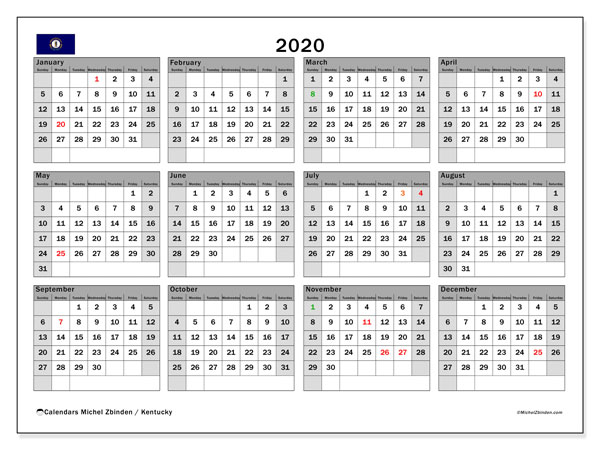2020 Calendar, with the holidays of Kentucky. Holidays calendar to print free.