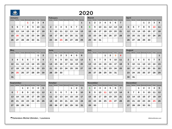 2020 Calendar, with the holidays of Louisiana. Free printable calendar with public holidays.