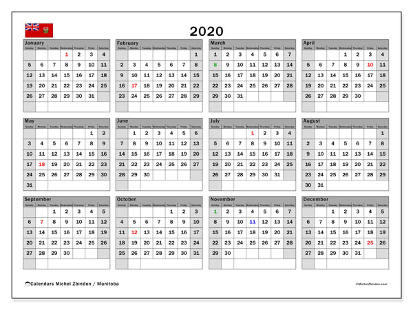 2020 Calendar, with the holidays of Manitoba. Holidays calendar to print free.