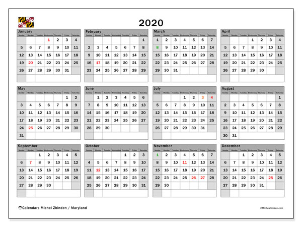 2020 Calendar, with the holidays of Maryland. Free printable calendar with public holidays.