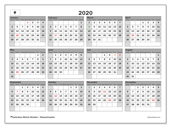 2020 Calendar, with the holidays of Massachusetts. Free printable calendar with public holidays.