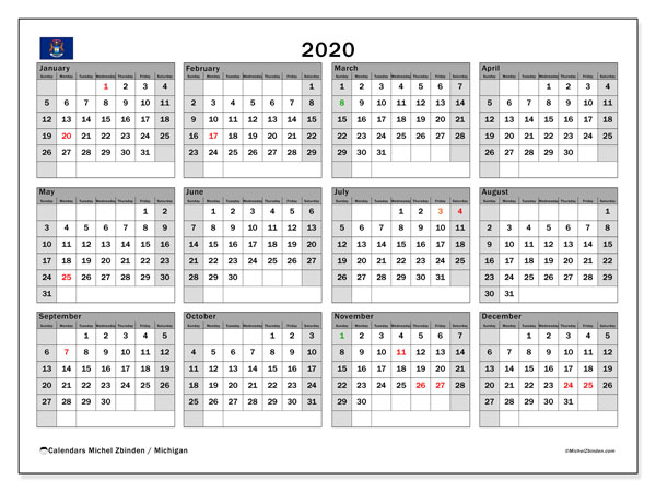 2020 Calendar, with the holidays of Michigan. Holidays calendar to print free.