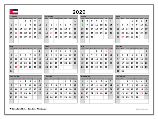 2020 Calendar, with the Mississippi holidays. Free printable calendar with public holidays.