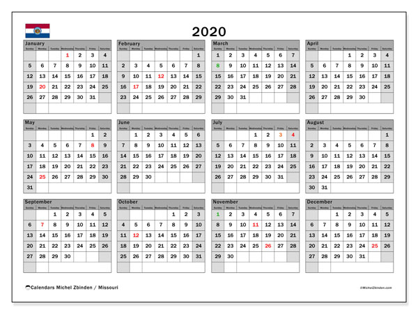 Annual Calendar 2020 - Missouri. Public Holidays. Annual Calendar and free planner to print.