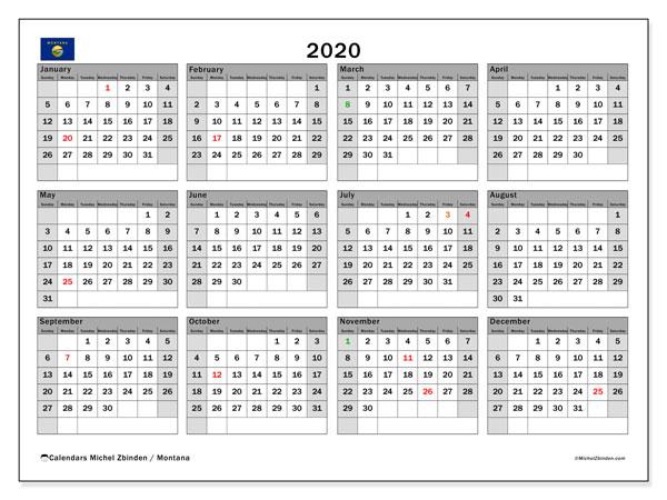 2020 Calendar, with the holidays of Montana. Free printable calendar with public holidays.