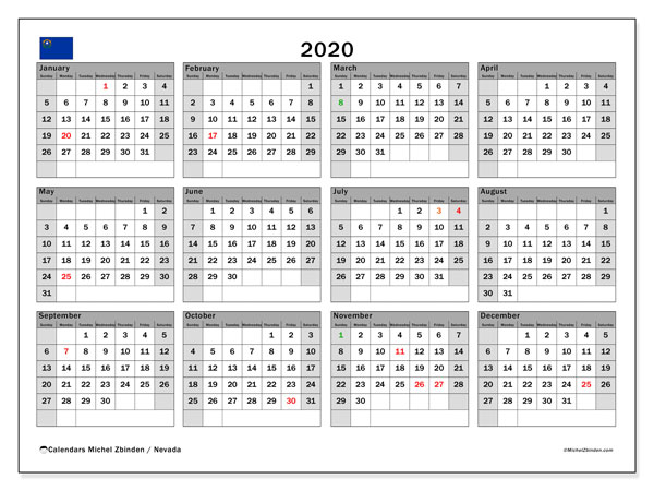 2020 Calendar, with the holidays of Nevada. Free printable calendar with public holidays.