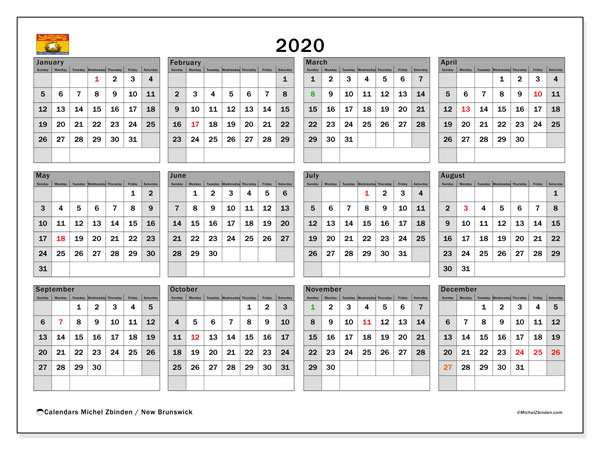 2020 Calendar, with the holidays of New Brunswick. Holidays calendar to print free.
