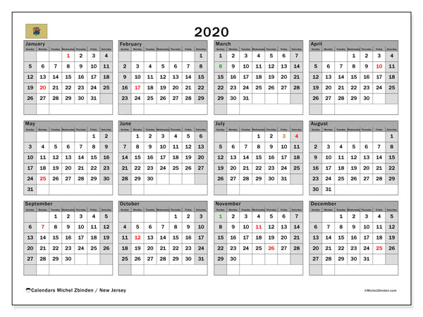 2020 Calendar, with the holidays of New Jersey. Holidays calendar to print free.