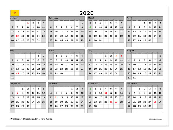 2020 Calendar, with the holidays of New Mexico. Free printable calendar with public holidays.
