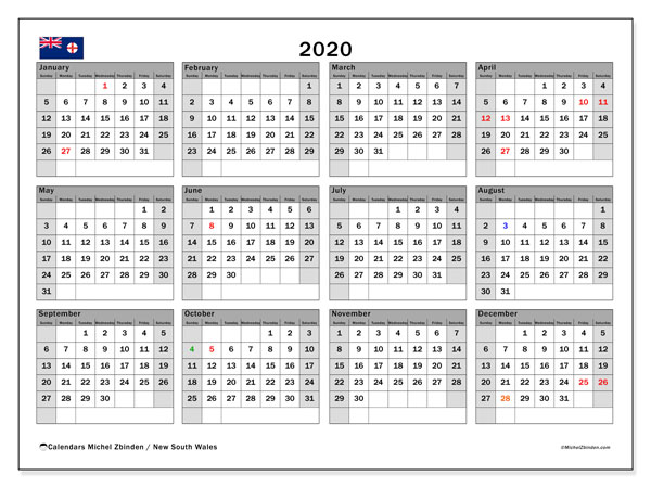 2020 Calendar, with the holidays of New South Wales. Holidays calendar to print free.