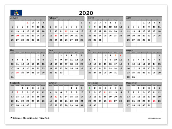 2020 Calendar, with the holidays of New York. Free printable calendar with public holidays.