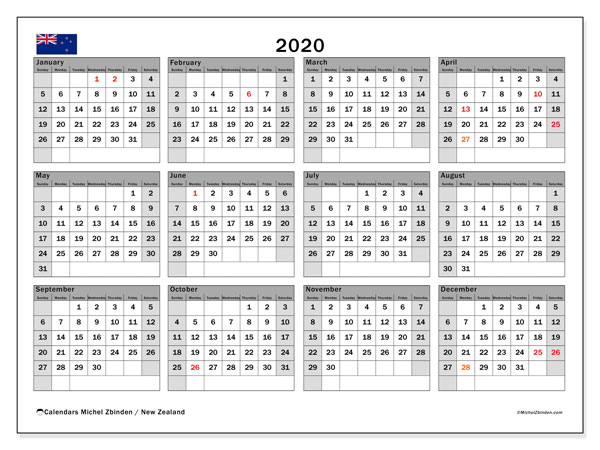 2020 Calendar, with the holidays of New Zealand. Free printable calendar with public holidays.