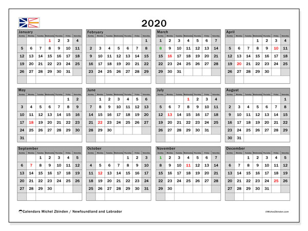 Annual Calendar 2020 - Newfoundland and Labrador. Public Holidays. Annual Calendar and free timetable to print.