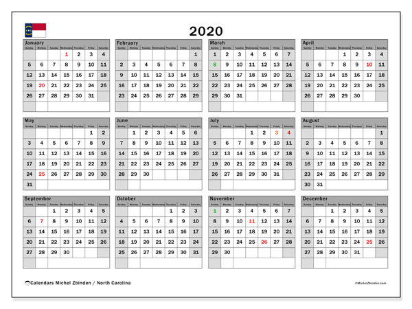 2020 Calendar, with the holidays of North Carolina. Free printable calendar with public holidays.