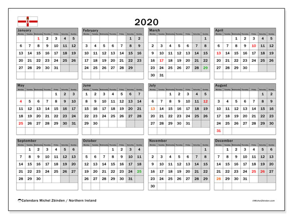 2020 Calendar, with the holidays of Northern Ireland. Holidays calendar to print free.