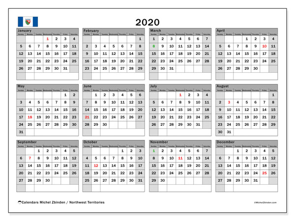 Annual Calendar 2020 - Northwest Territories. Public Holidays. Annual Calendar and free printable bullet journal.
