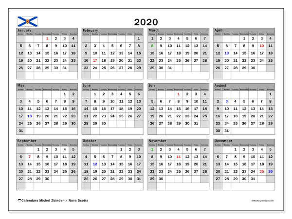 2020 Calendar, with the holidays of Nova Scotia. Holidays calendar to print free.