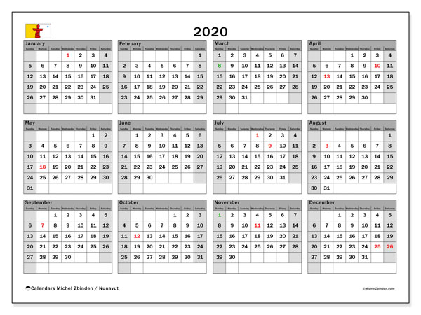 2020 Calendar, with the holidays of Nunavut. Free printable calendar with public holidays.