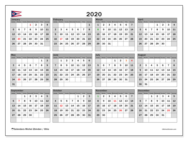 2020 Calendar, with the holidays of Ohio. Holidays calendar to print free.