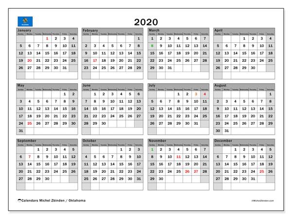 2020 Calendar, with the holidays of Oklahoma. Holidays calendar to print free.