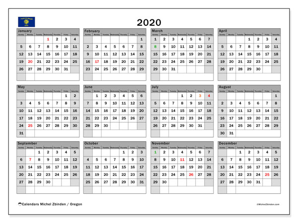 2020 Calendar, with the holidays of Oregon. Free printable calendar with public holidays.