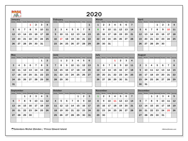 Annual Calendar 2020 - Prince Edward Island. Public Holidays. Annual Calendar and free printable schedule.