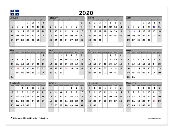 Annual Calendar 2020 - Quebec. Public Holidays. Annual Calendar and planner to print free.